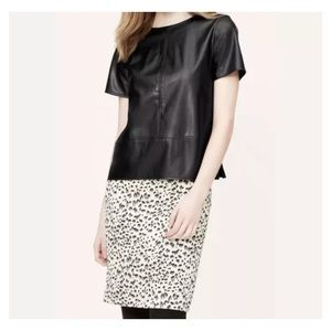 Ann Taylor LOFT Black Faux Leather tweed top